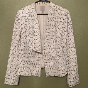 Halogen white patterned blazer size large